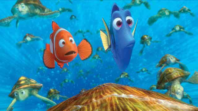 Nemo and Dory ride a strong current